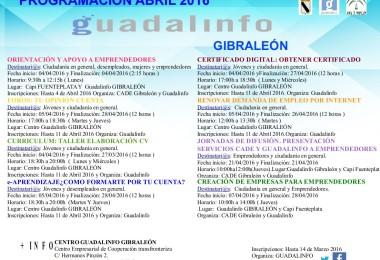 PROGRAMACIÓN DE ABRIL 2016 – CENTRO GUADALINFO