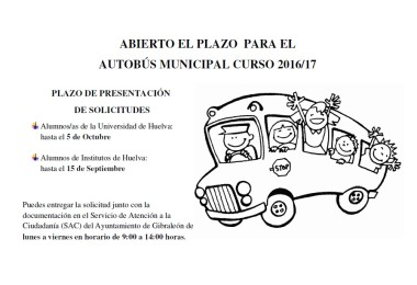 ABIERTO EL PLAZO PARA SOLICITAR EL SERVICIO DE AUTOBÚS MUNICIPAL CURSO 2016/17